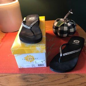 Yellow box flip flops Black  Size 6.5